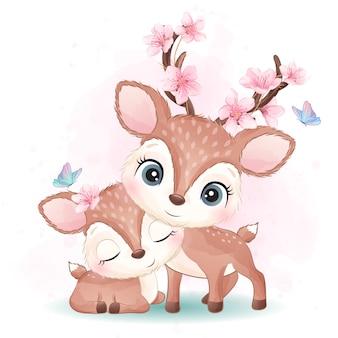 Симпатичные маленькие олени матери и ребенка иллюстрации