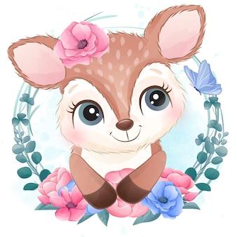 Милый маленький олень портрет с цветочным