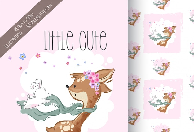 Cute little deer scarffing bunny witth seamless pattern