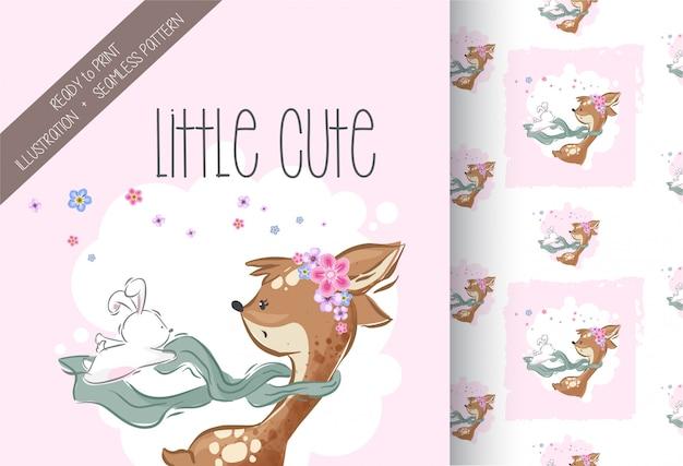 Cute little deer scarffing bunny witth seamless pattern