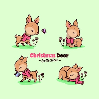Cute little deer wearing red scarf in christmas day