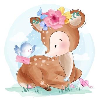 Cute little deer with bird