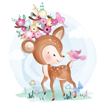 Cute little deer with flowers