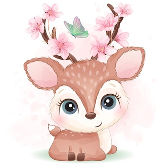 Cute little deer with watercolor effect
