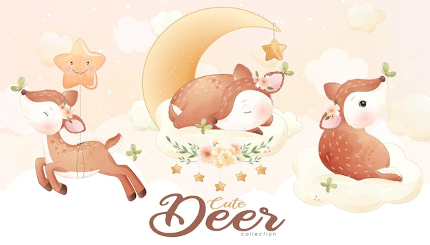 Cute little deer with watercolor illustration set