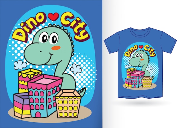 Cute little dino cartoon for tshirt