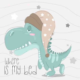 Cute little dino hand drawn animal illustration-vector