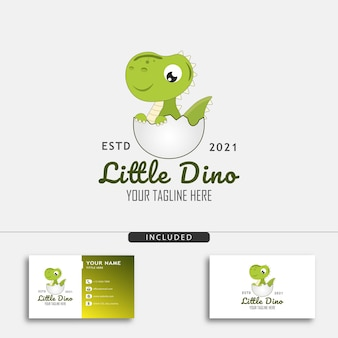 달걀 벡터 삽화에서 부화한 작은 공룡이 있는 귀여운 작은 공룡 로고 디자인 개념