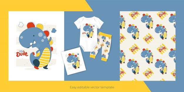 아이들을위한 귀여운 작은 공룡과 원활한 패턴 디자인