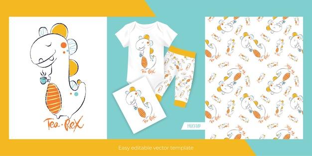 귀여운 작은 공룡과 아이들을위한 원활한 패턴