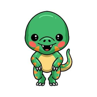 かわいい小さな恐竜の漫画のポーズ