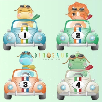 Cute little dinosaur driving a car with watercolor illustration