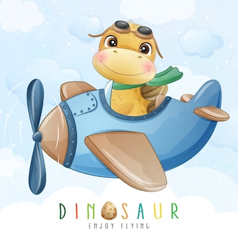 Cute little dinosaur flying with airplane illustration