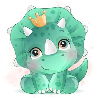 Милый маленький портрет динозавра с эффектом акварели