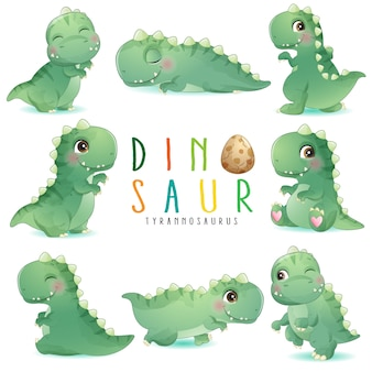Cute little dinosaur poses with watercolor illustration