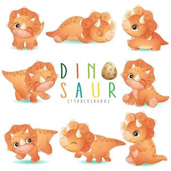 Симпатичные маленькие динозавры позируют с акварельной иллюстрацией