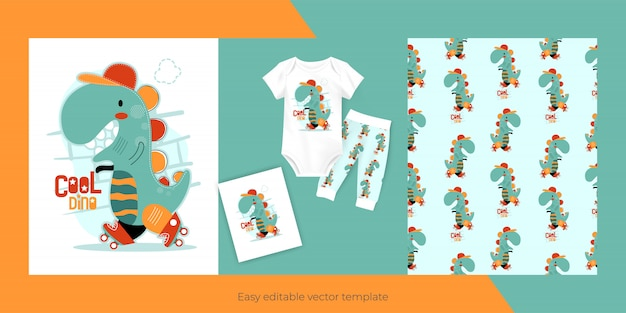 Cute little dinosaur and seamless pattern design for kids