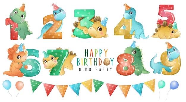 생일 파티 컬렉션에 번호가 매겨진 귀여운 작은 공룡