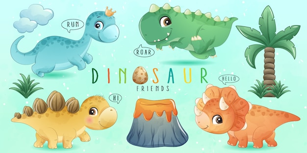 Cute little dinosaur with watercolor collection