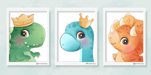 Cute little dinosaur with watercolor effect illustration