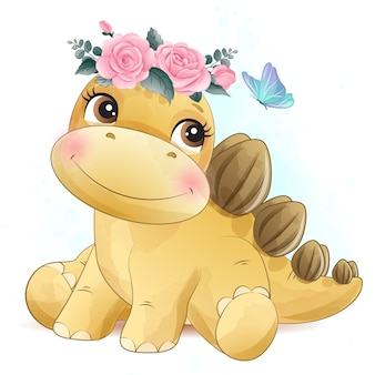 Cute little dinosaur with watercolor illustration