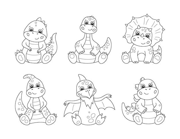 Симпатичные маленькие динозавры для детских книжек-раскрасок. Premium векторы