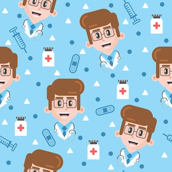 かわいい小さな医者のパターンのイラスト