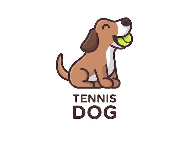 Cute little dog bite tennis ball