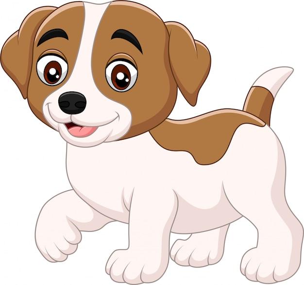 Милый маленький мультфильм собака на белом фоне