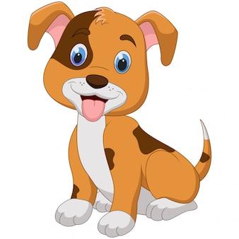 Милый маленький мультфильм собака, изолированные на белом