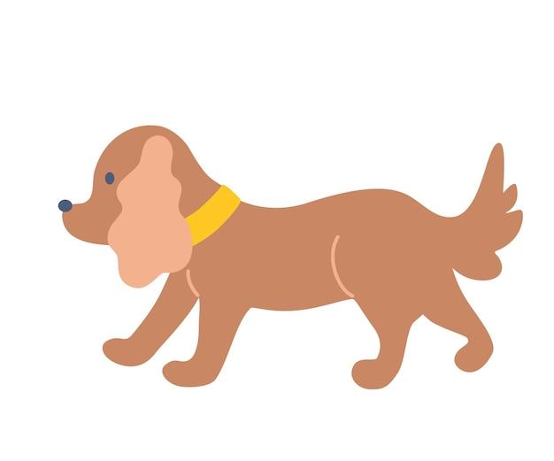 かわいい小さな犬。ダックスフント、ラップドッグ。フラットベクトルイラスト。