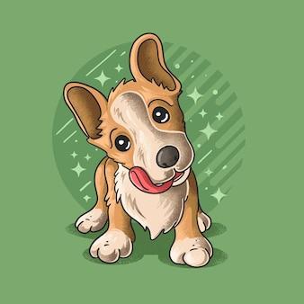 Cute little dog grunge style illustration vector