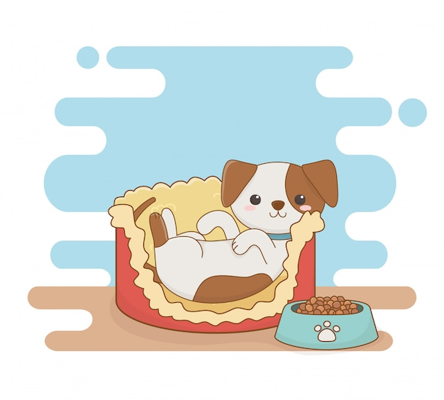 Cute little dog mascot in bed with food