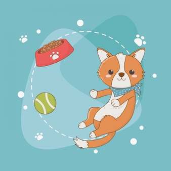 Cute little dog mascot with dish and ball