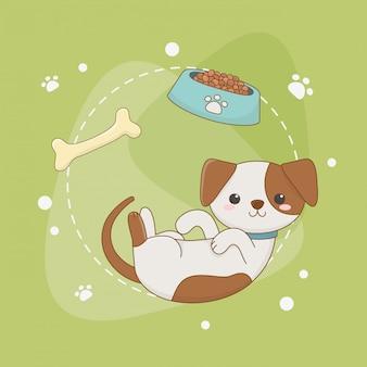 Cute little dog mascot with dish and bone