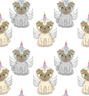Cute little dog unicorn cartoon pattern hand drawn