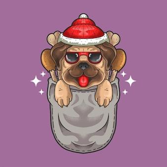 かわいい小さな犬はポケットグランジスタイルのイラストベクトルでクリスマス帽子を着用します。