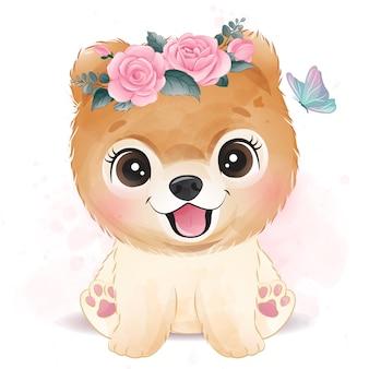 Милая маленькая собака с цветочной иллюстрацией