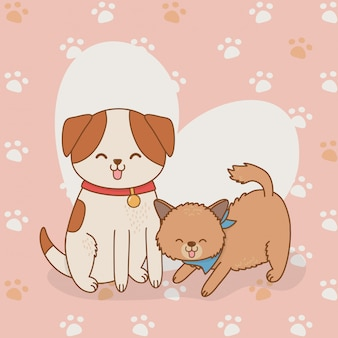 Cute little doggy and kitty mascots