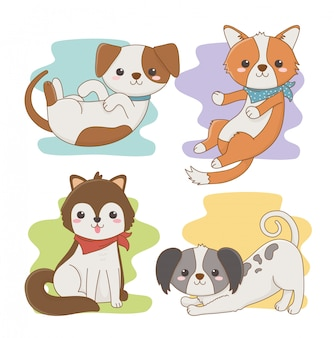 Cute little dogs mascots characters