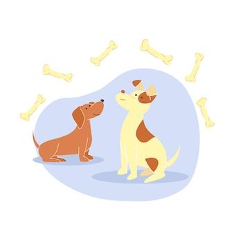 Cute little dogs, puppies flat illustration