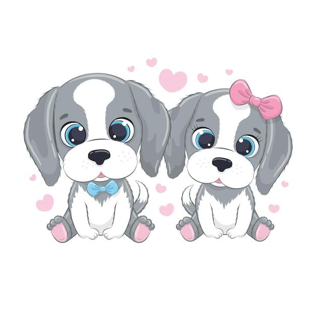 Симпатичные маленькие собачки с сердечками. с днем святого валентина клипарт.