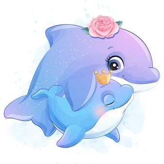 귀여운 작은 돌고래 엄마와 아기 그림