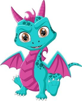 Cute little dragon cartoon on white