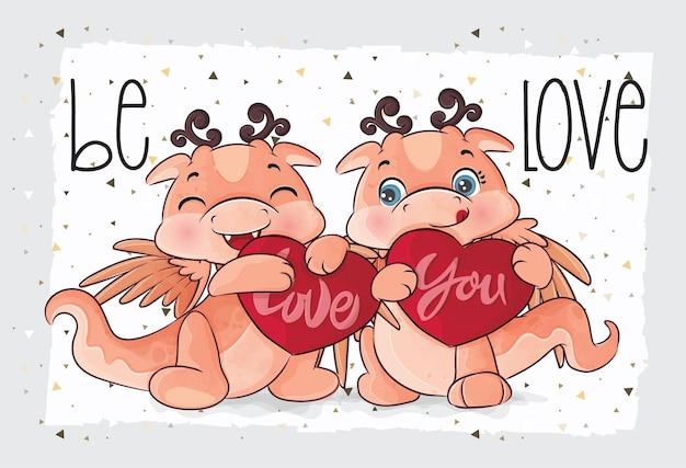 Cute little dragon lovely illustration