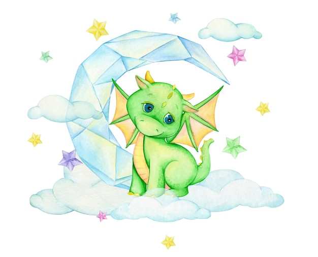A cute little dragon sitting on a cloud, against the background of a crystal moon.