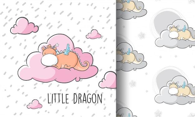 Cute little dragon sleeping on the cloud