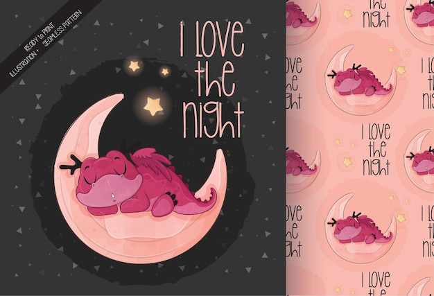 Cute little dragon sleeping on the moon illustration with seamless pattern