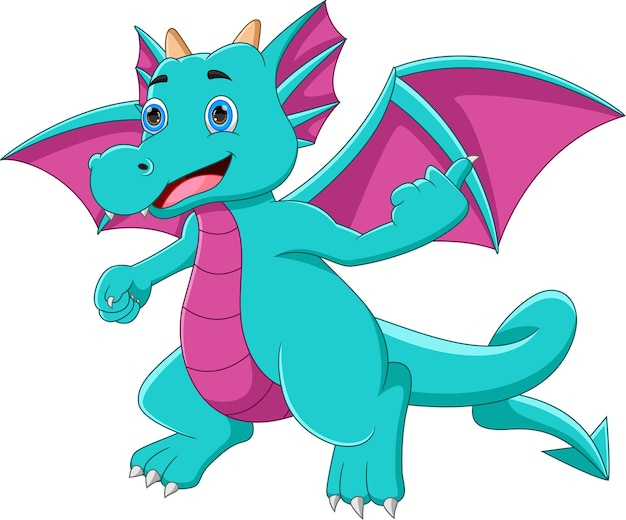 Cute little dragon thumbs up cartoon on white background