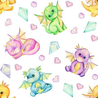 Симпатичные маленькие драконы и кристаллы. акварель бесшовные модели.
